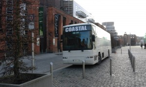 Coastal Coach Hire outside Smithfield`s Generator Hostel Dublin.
